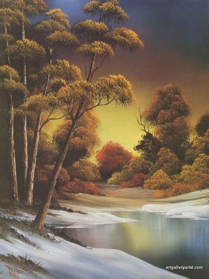 Bob Ross Autumn Paintings | golden_sunset.jpg | tablolar | Pinterest ...
