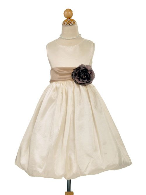 75cbcfaf57 Bubble Taffeta Dress with Accented Organza Sash - Best Seller Taupe sash  grey flower