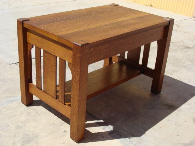 American Antique Arts Crafts Mission Oak Library Table Desk