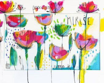 Original Art Print It's morning... I'm waking up by MirnaSisul