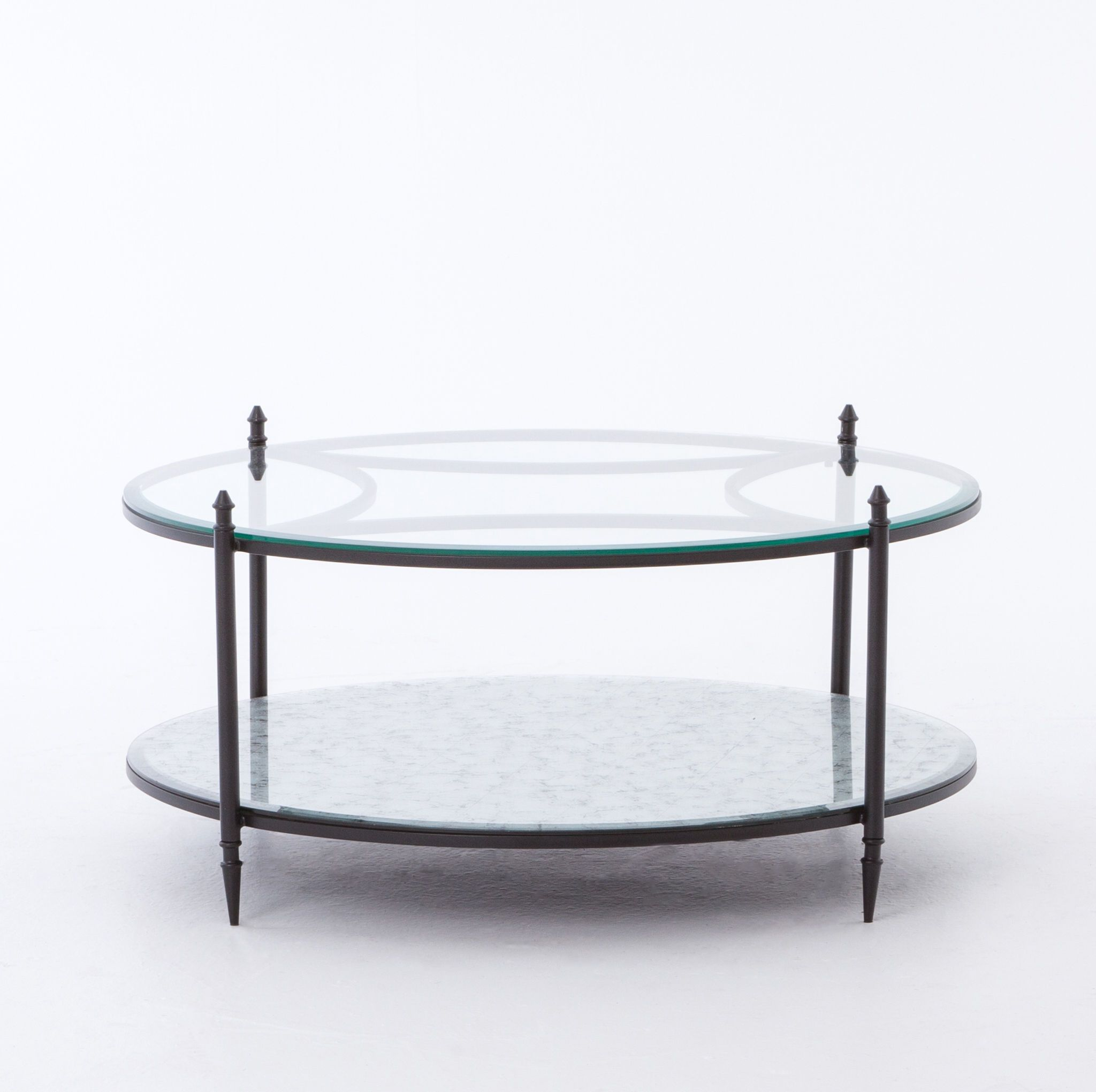 mirror metal and glass coffee table dark metal antiqued mirror on