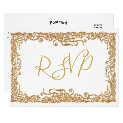 RSVP Elegant Script Modern Faux Gold White Gold Card - gold wedding - invitation templates for farewell party