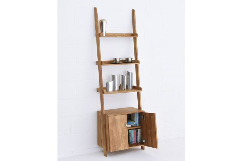 Home Storage Furniture Leaning Oak Narrow Cabinet