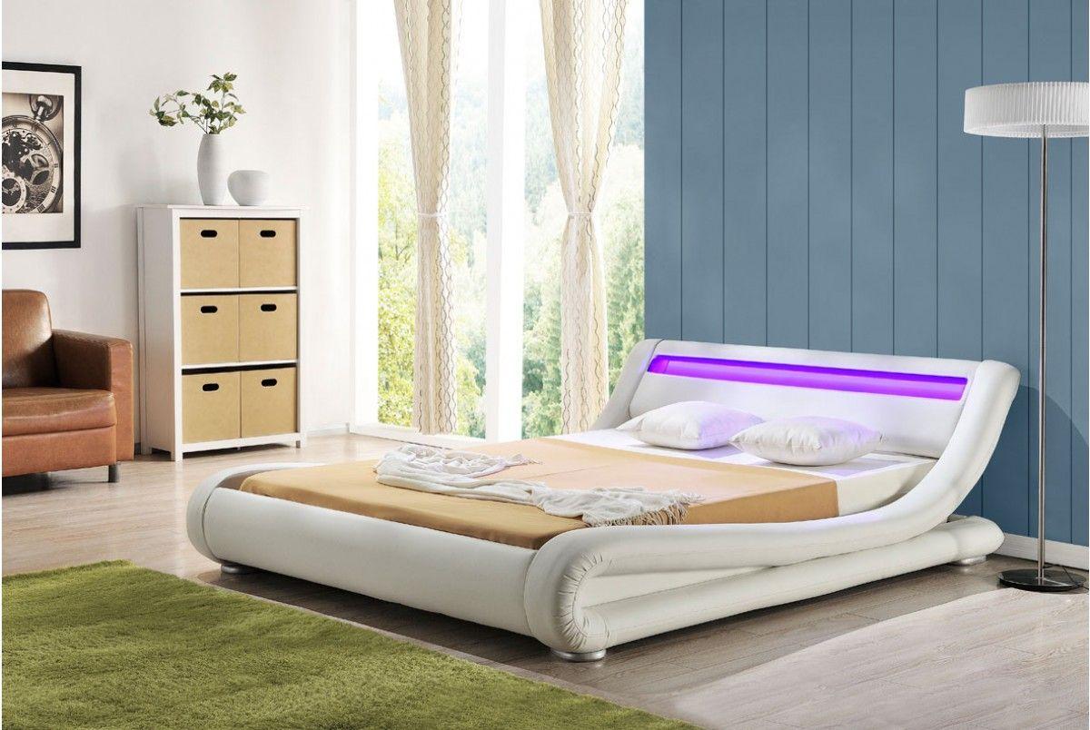 Led Bedroom Furniture White Madrid Led Lights Low Designer Bed Bright Beautiful