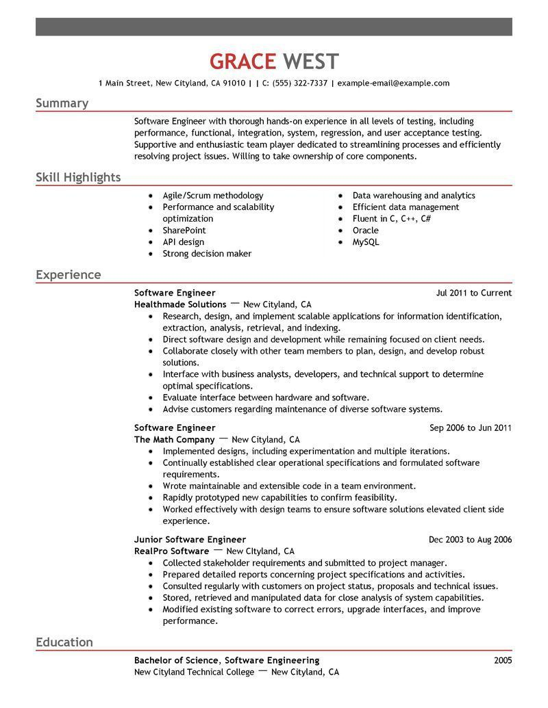 Free Resume Templates Software Engineer Resume Software Engineering Resume Templates Good Resume Examples