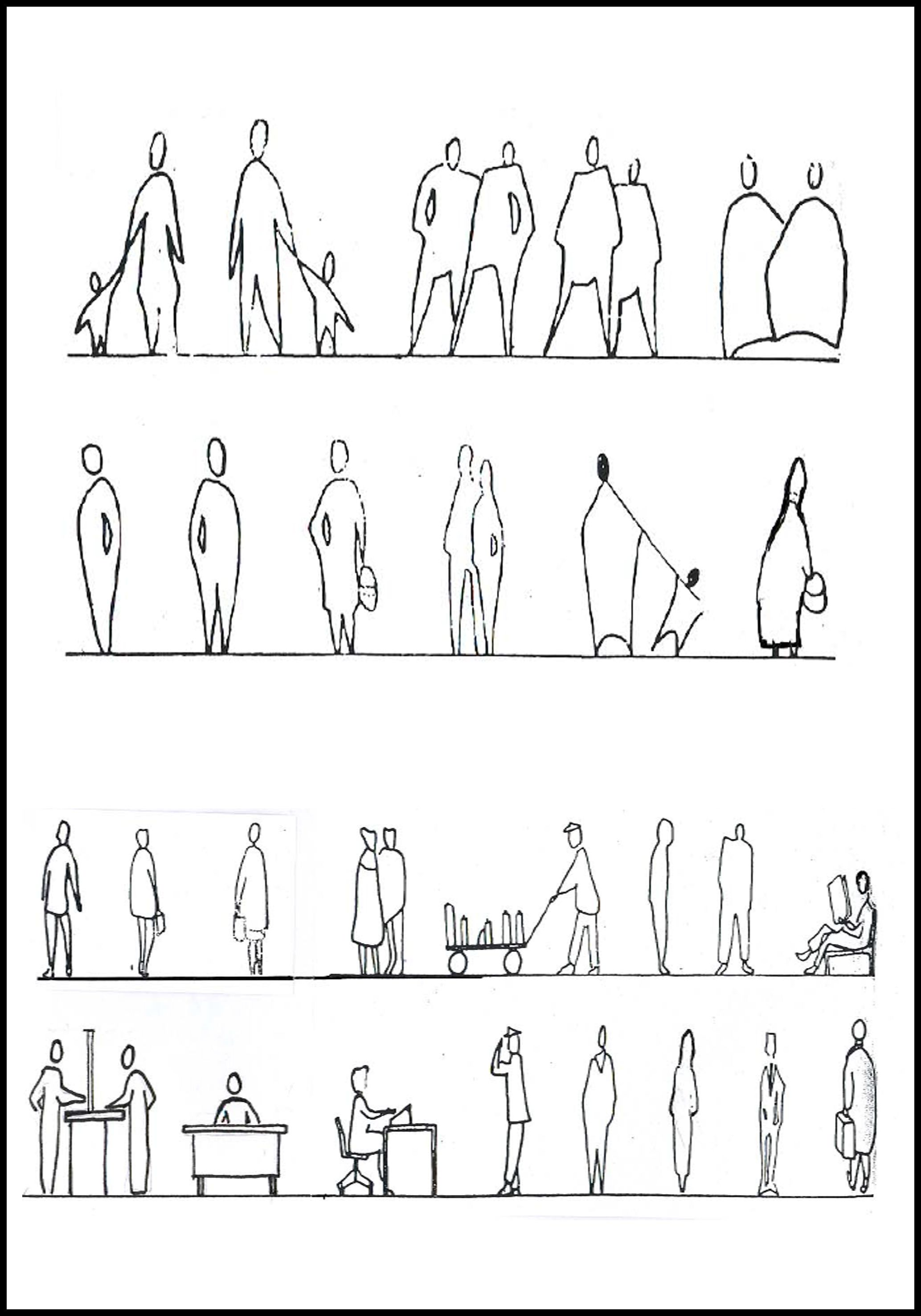 architects technique in drawing people  | architecture graphics