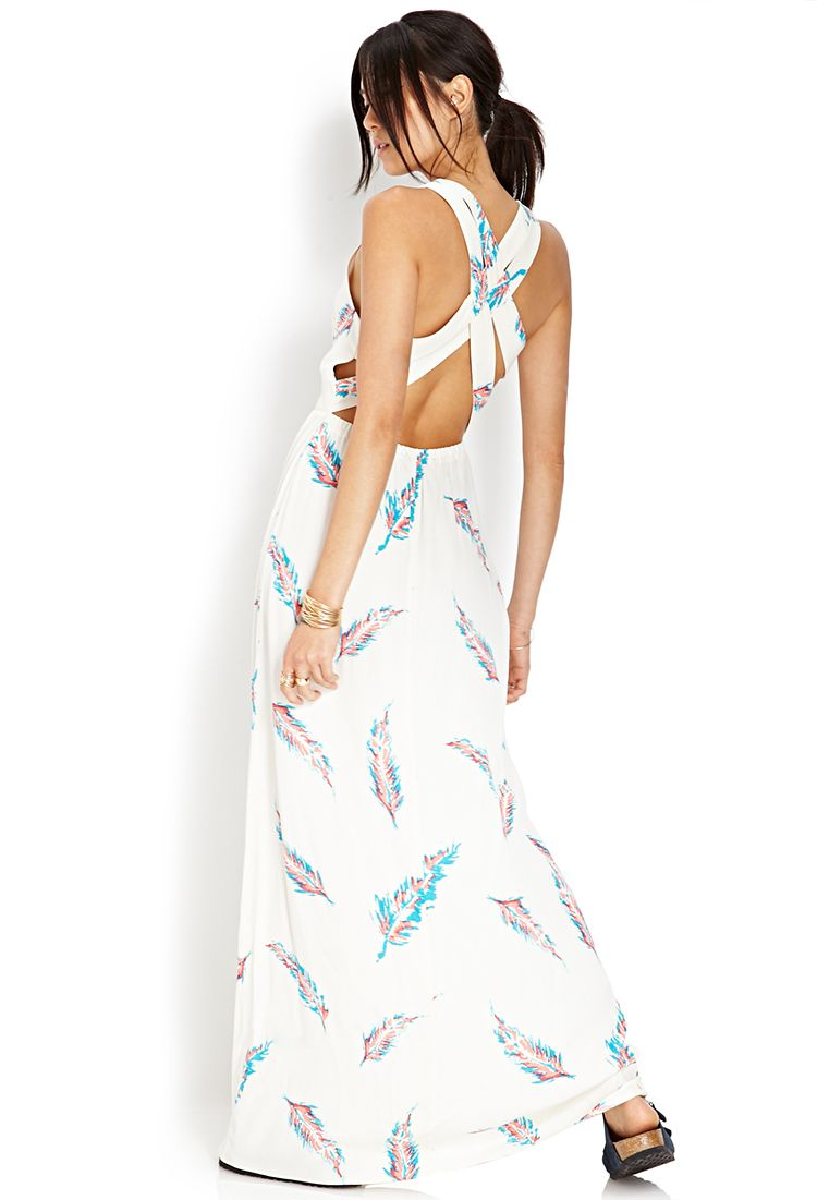 Feather print maxi dress forever dressed up pinterest