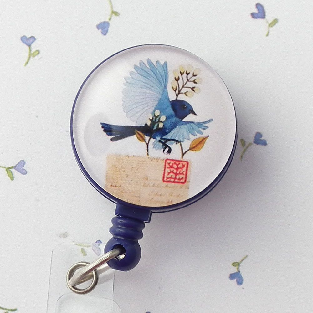 Bluebird and Letter on Blue Magnetic Retractable ID Badge Reel