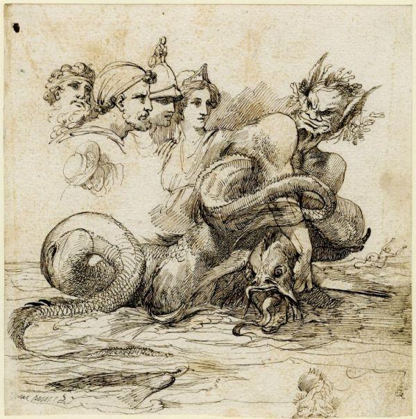 John Hamilton Mortimer: Triton Strangling A Sea Serpent