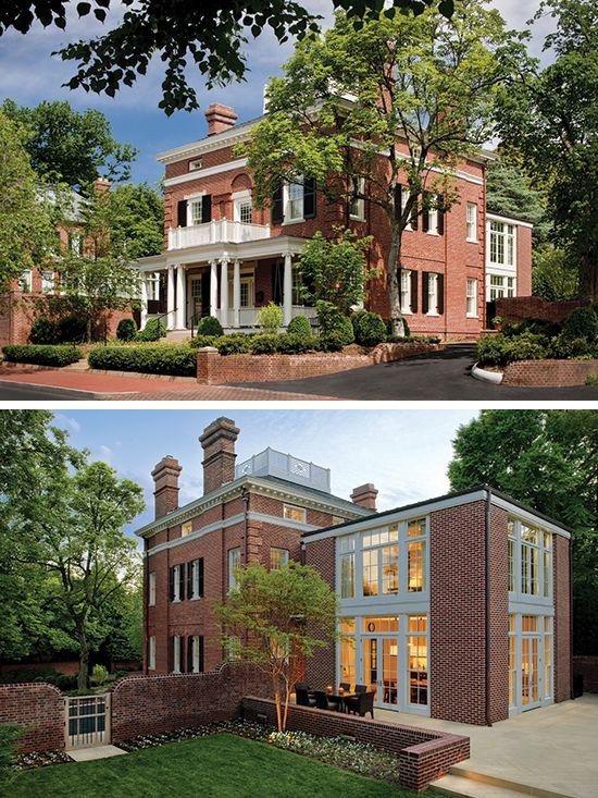 Brick House Addition In Dublin: Red Brick House With White Cornice And Porch And Shrubbery In Front Yard.