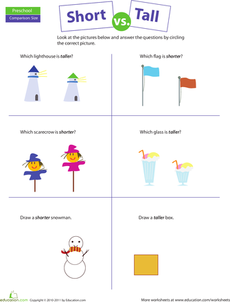 Comparing: Short vs. Tall   Worksheets, Math and Math measurement