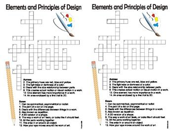 Elements And Principles Of Art Crossword Puzzle Google