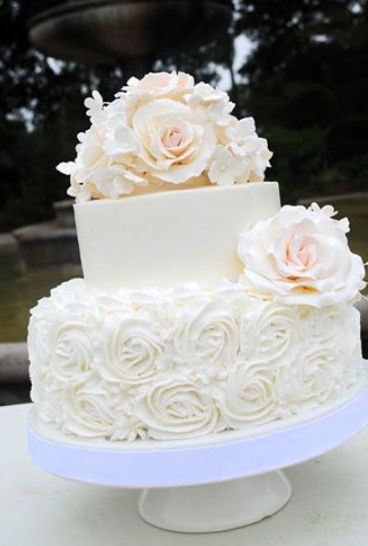 Rosette Wedding Cake With Gum Paste Or Sugar Flowers Roses Topper Flores Hecha