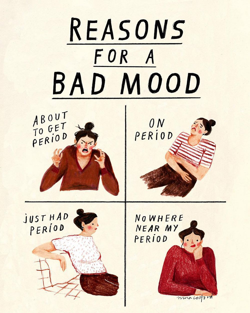 Best Funny Girl Reasons for a Bad Mood | A Cup of Jo Bad Mood Comic Nina Cosford 11