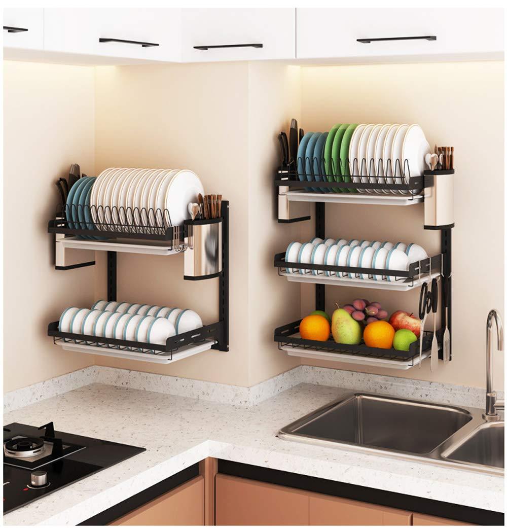 amazon com ctystallove 3 tier black stainless steel dish drying rack fruit vegetable storage on kitchen organization dishes id=51072