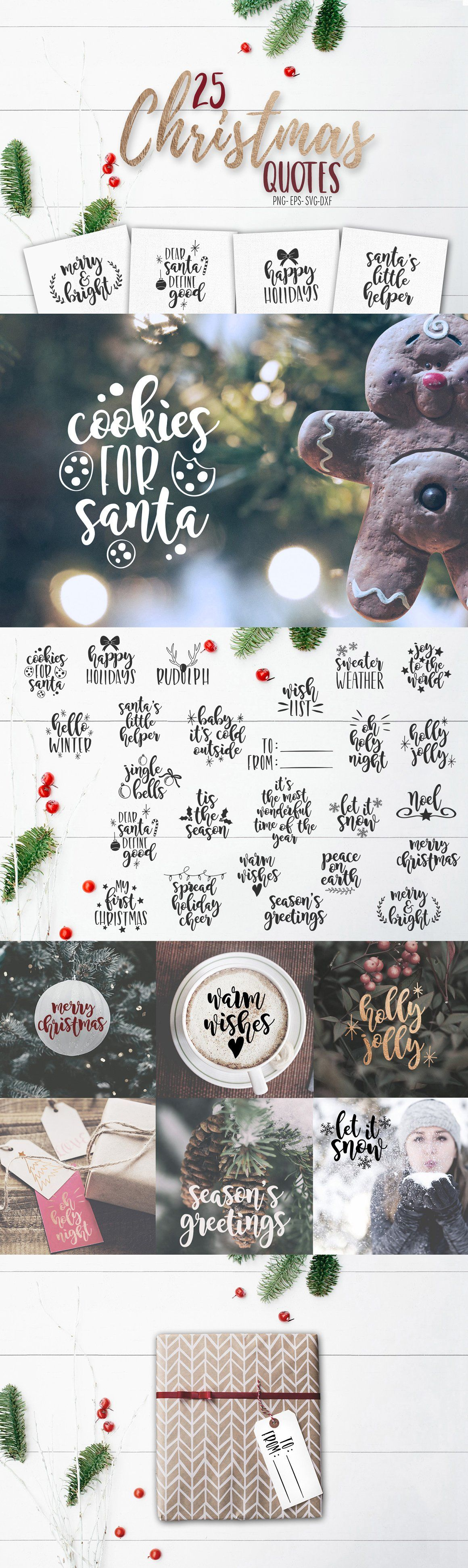 Christmas SVG Quotes And Overlays   Objects  Partner Link