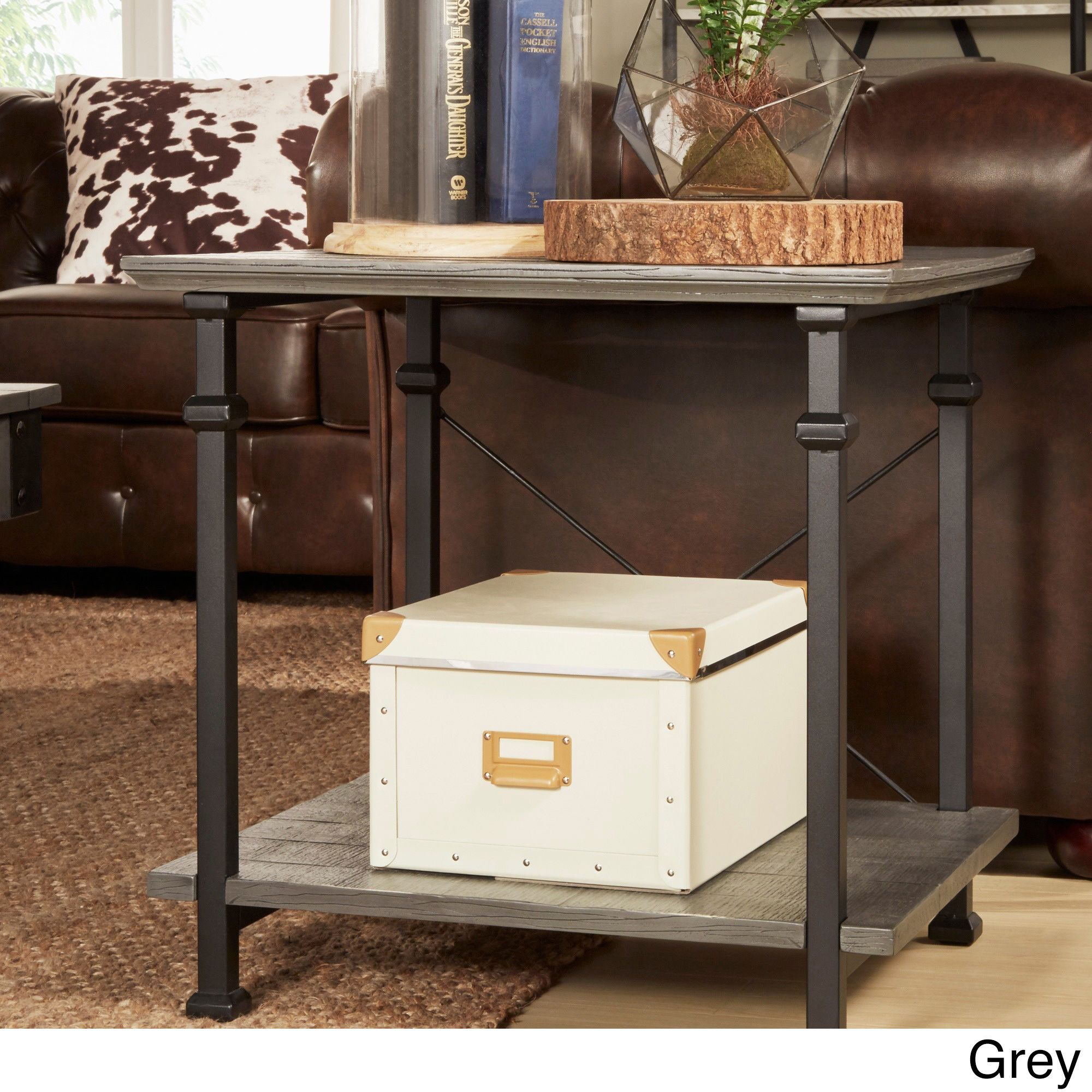 Myra Vintage Industrial Modern Rustic End Table by iNSPIRE Q Classic (