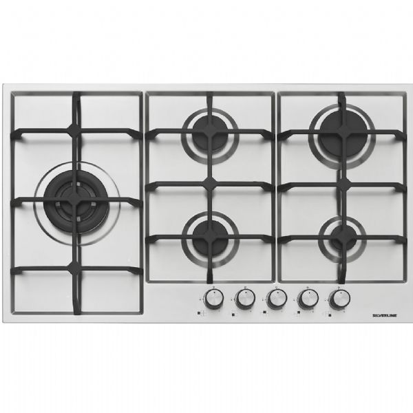 90cm 5 Gas Burners Stainless Steel Built In Hob As 5216 English Silverline Eu European Union 90cm Stainless Steel Built In Gas Burners Hobs Ceramic Hobs