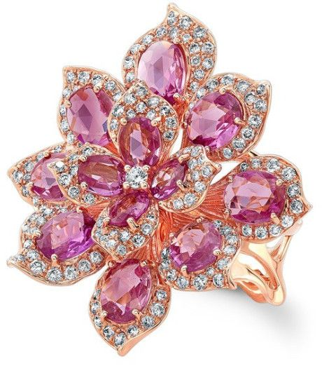 Anne sisteron 18kt Rose Gold Pink Sapphire Diamond Lotus Ring in Purple