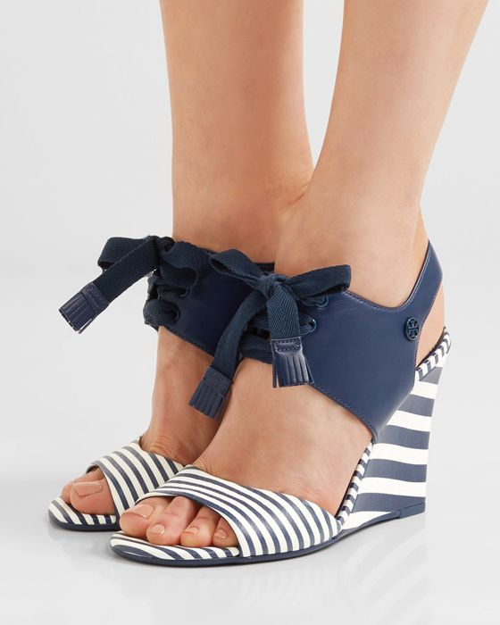 e6e5755206846 TORY BURCH Maritime lace-up striped leather wedge sandals