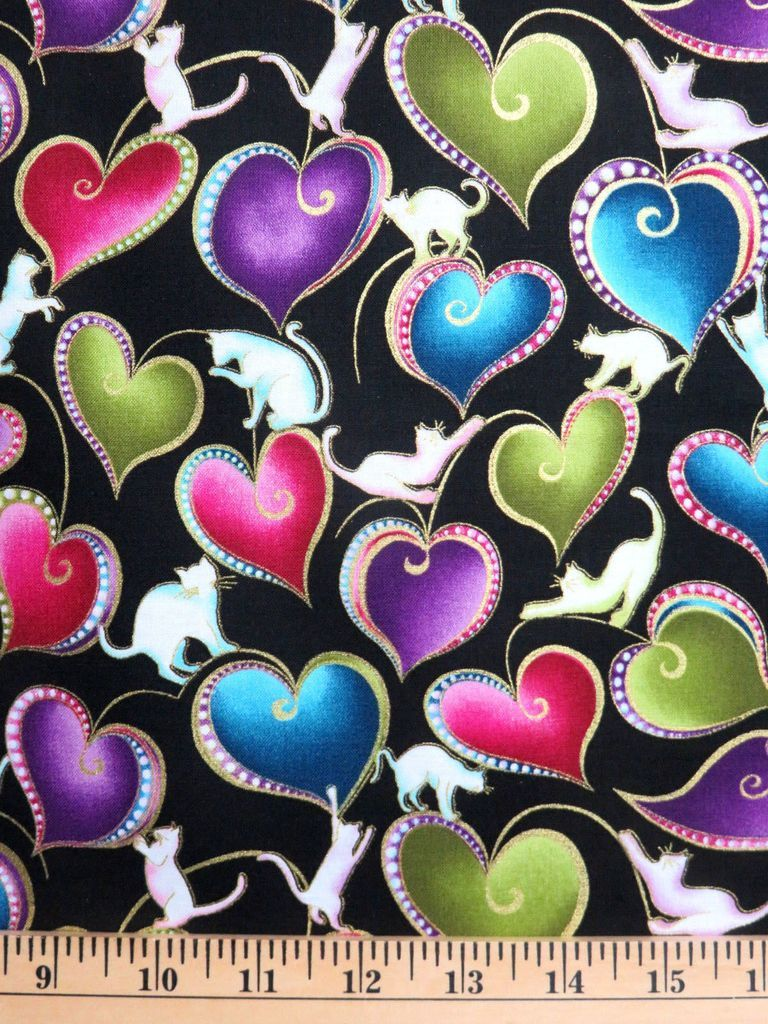 Patchwork Quilting Sewing Fabric Catitude Hearts
