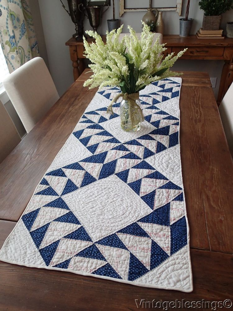 Great ANTIQUE 1847 Flying Geese Indigo Blue QUILT