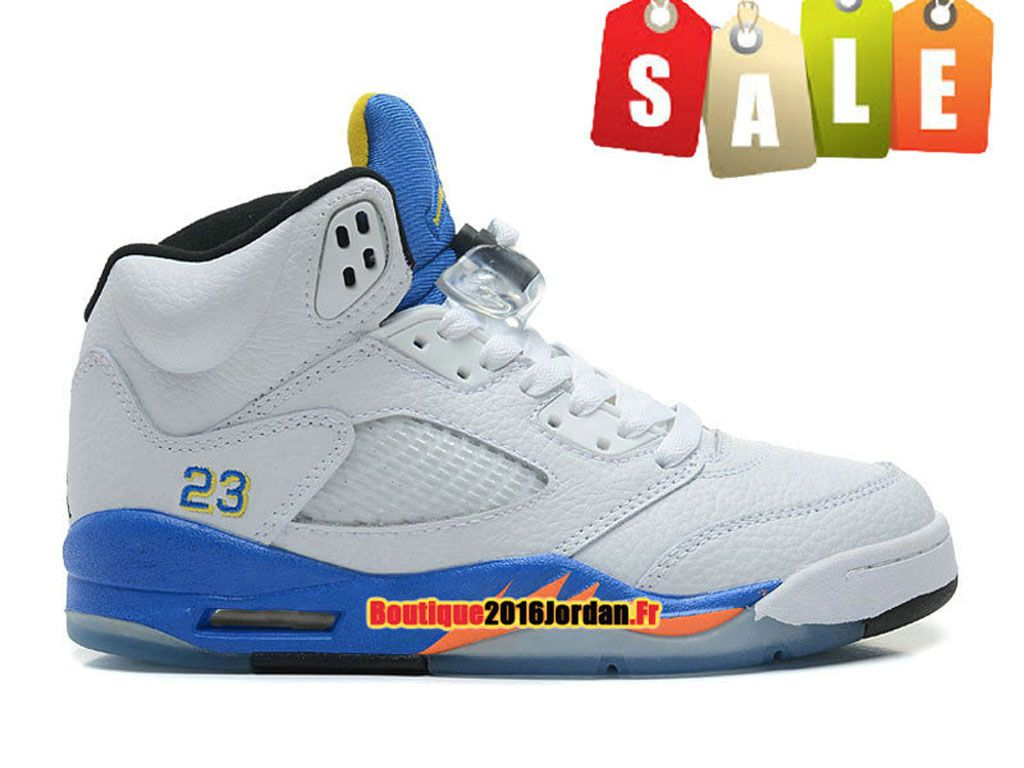 best service f587e 05358 Air Jordan V(5) Retro 2013 - Nike Air Jordan Sneakers Chaussure Pas Cher  Pour Homme Blanc Bleu 136027-189
