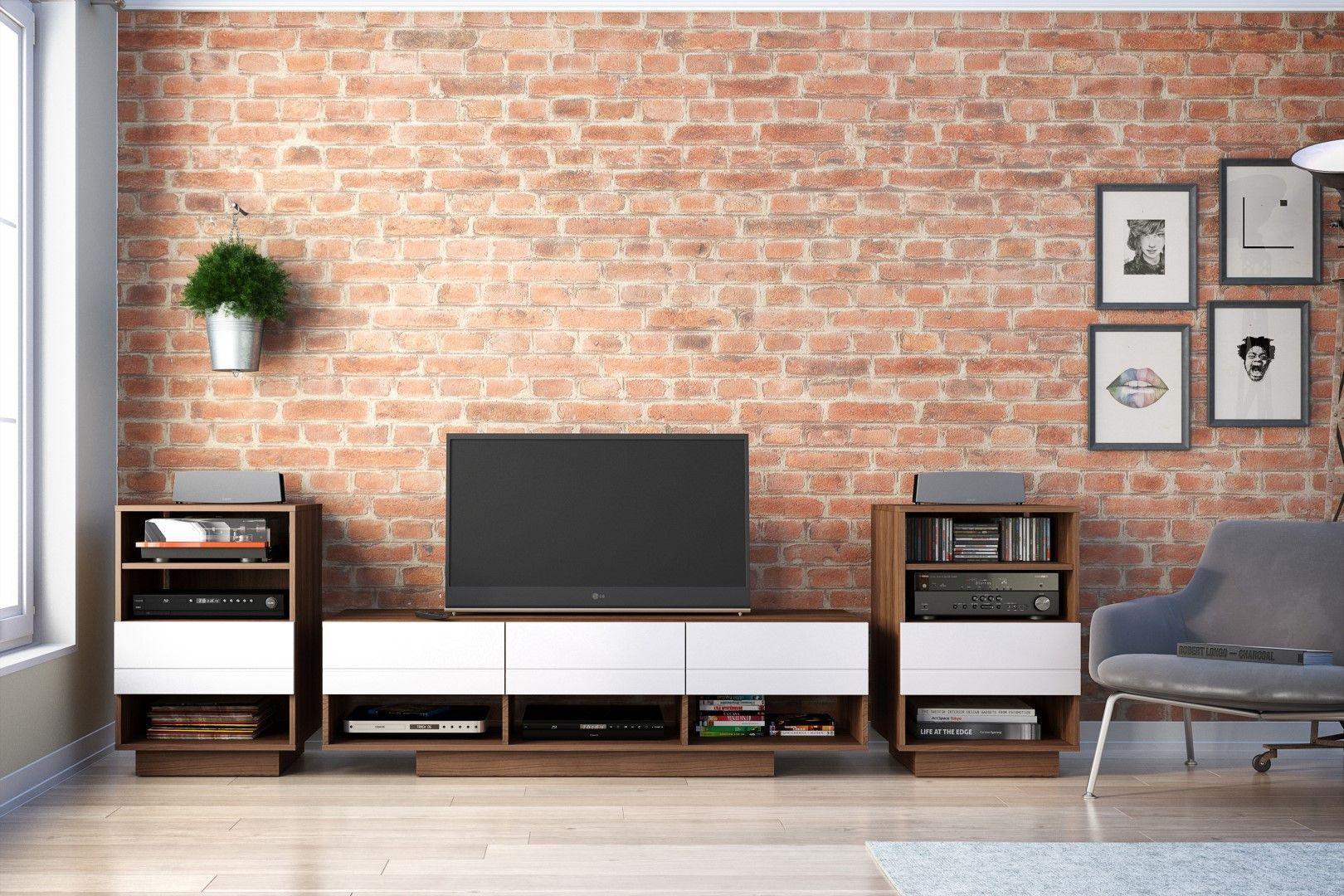 Nexera 105140 Sequence TV Stand, 60-inch, Walnut & White