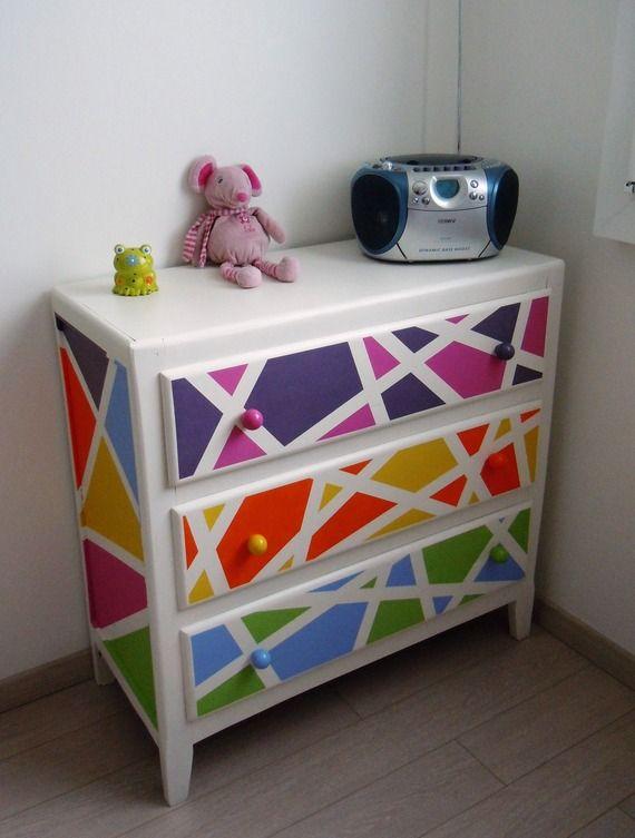 Commode en bois des années 50 relookée - Colorée, douce et - comment peindre un vieux meuble