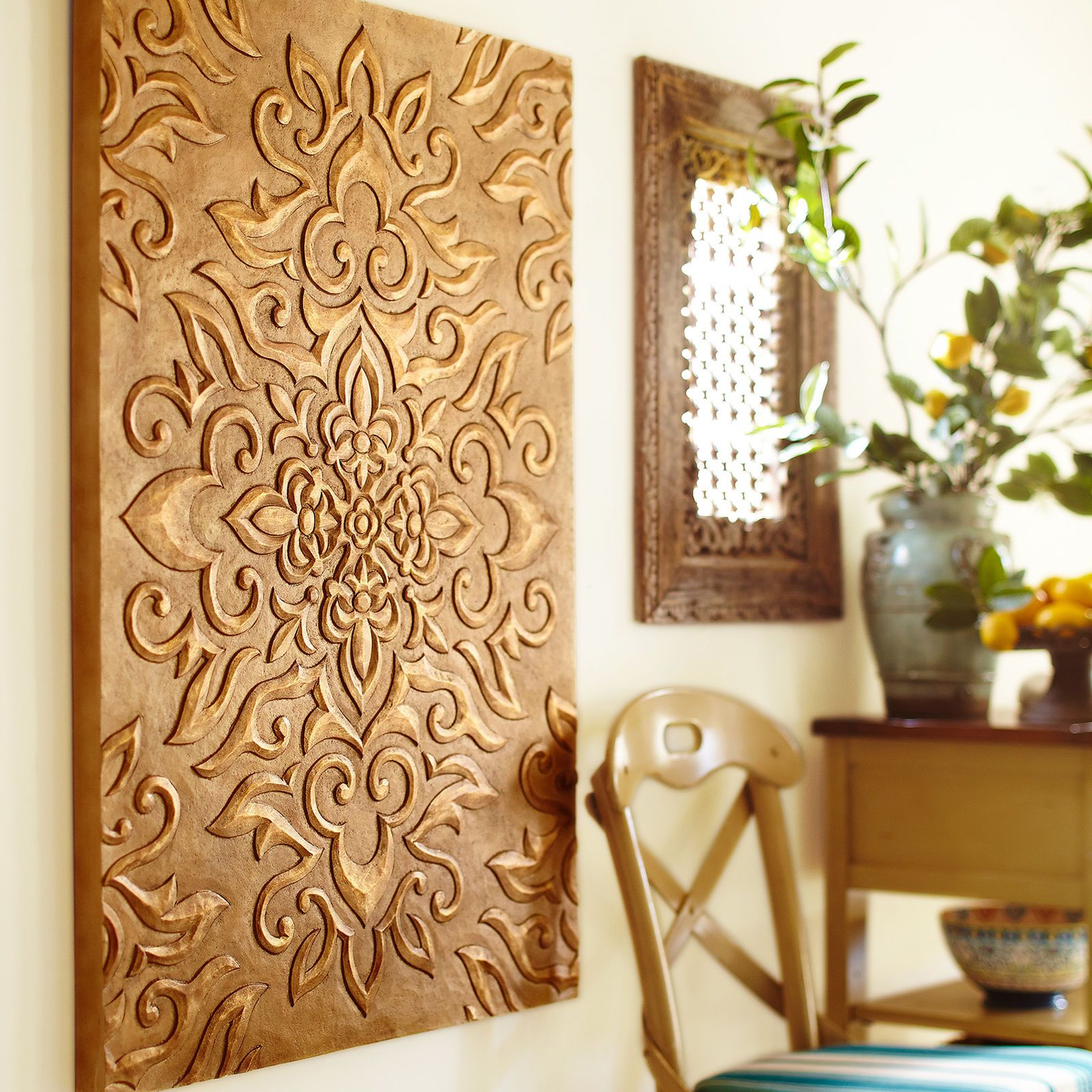 Carved medallion wall panel pier imports vintage pinte