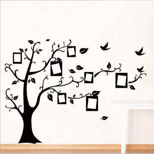 رخيصة 1 مجموعة كبيرة الحجم 90 120 سنتيمتر أسود اللون الأسرة شجرة ملصق الحائط ملصقات صائق و إط Family Tree Wall Decal Family Wall Decals Wall Stickers Wallpaper