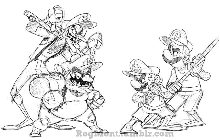 Wario Waluigi Vs Mario And Luigi Gaming Mario Super Mario