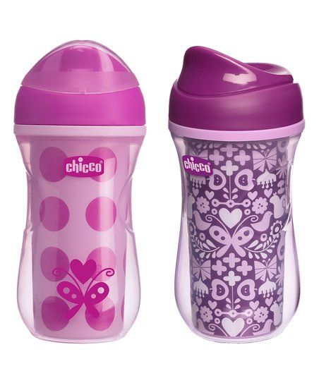 Chicco Baby Japan Chicco 9 Oz Pink Purple Insulated Rim Sippy Cup Set
