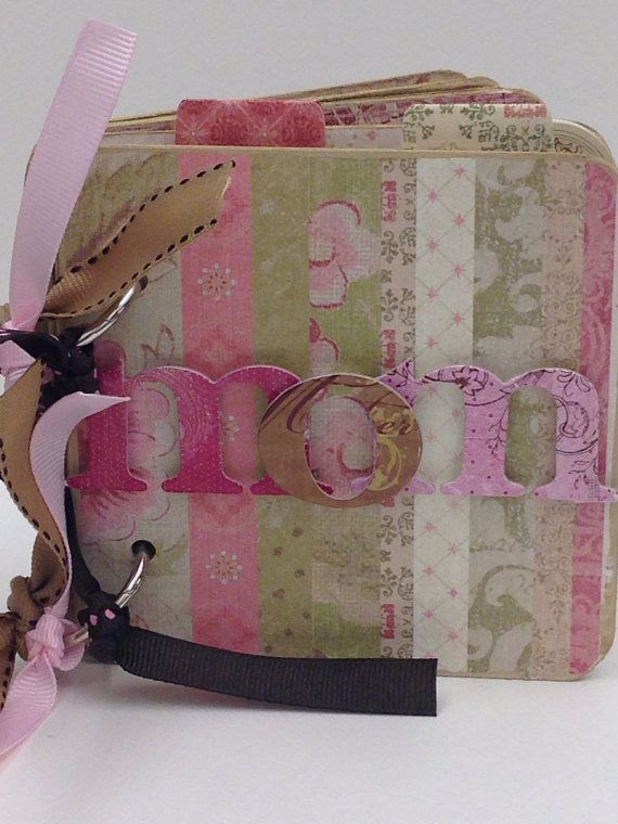 Mom premade pages chipboard scrapbook album- Mothers Day shabby chic mini brag book on Etsy, $23.00