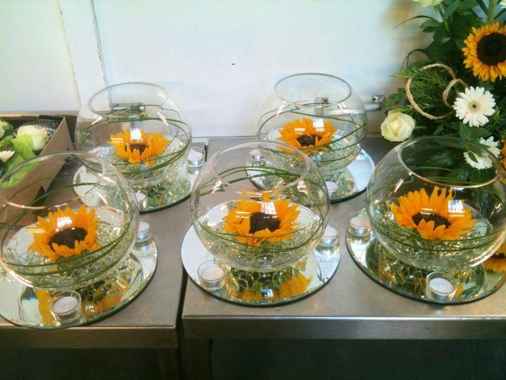 Sunflower centre piece is part of Sunflower wedding -