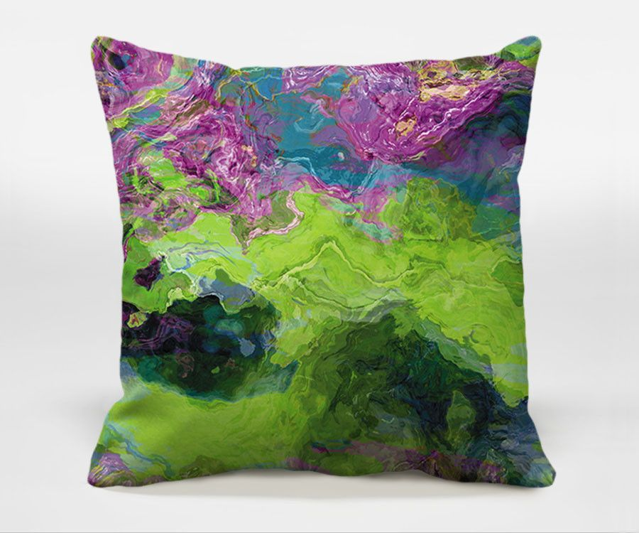 Archipelago Decorative Pillow Covers With Abstract Art 40x40 Adorable Purple And Green Decorative Pillows