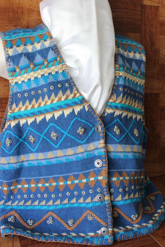 Sigrid Olsen for Orvis Womens Sweater Vest Blue Southwest Pewter Buttons size L #SigridOlsen