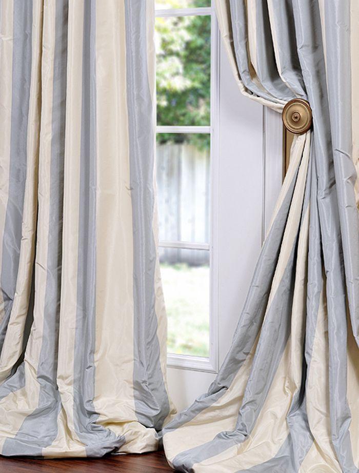 Hampton Faux Silk Taffeta Stripe Swatch Striped Curtains
