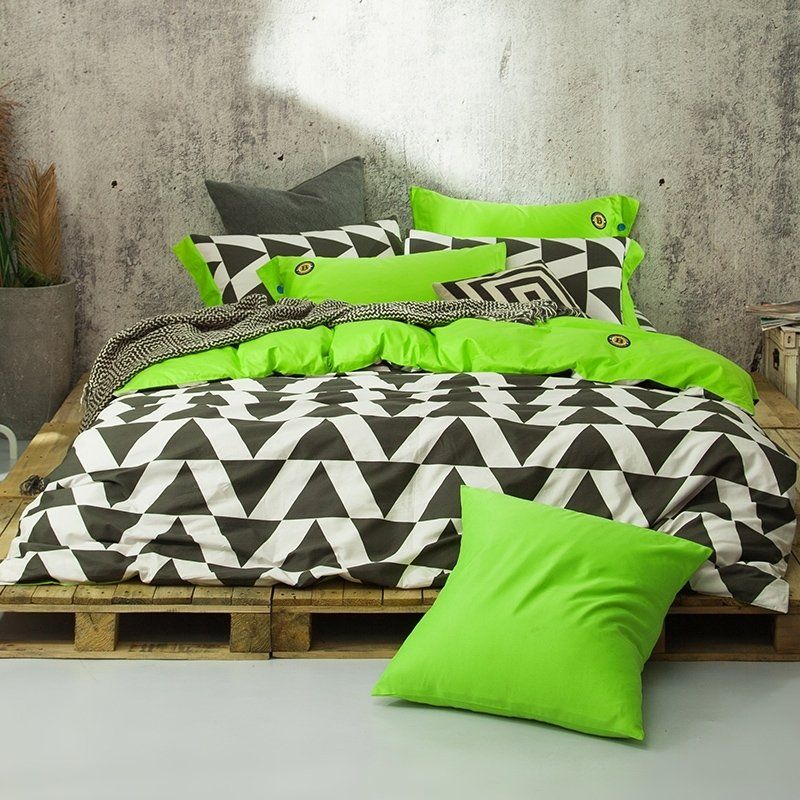Boutique Black White And Lime Green Unique Geometric Triangle Print Simply Modern Chic 100 Cotton Full Queen Size Beddin Bedding Sets Bed Queen Size Bedding