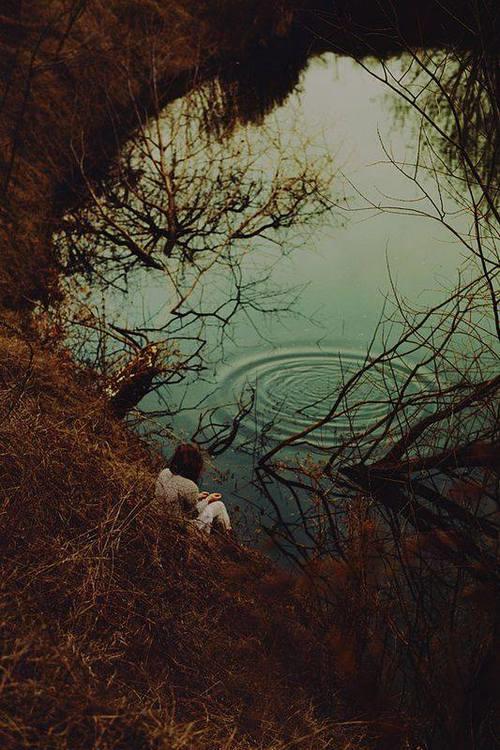 next to the lake.   via Facebook #woods  melancholy  #dress  vintage