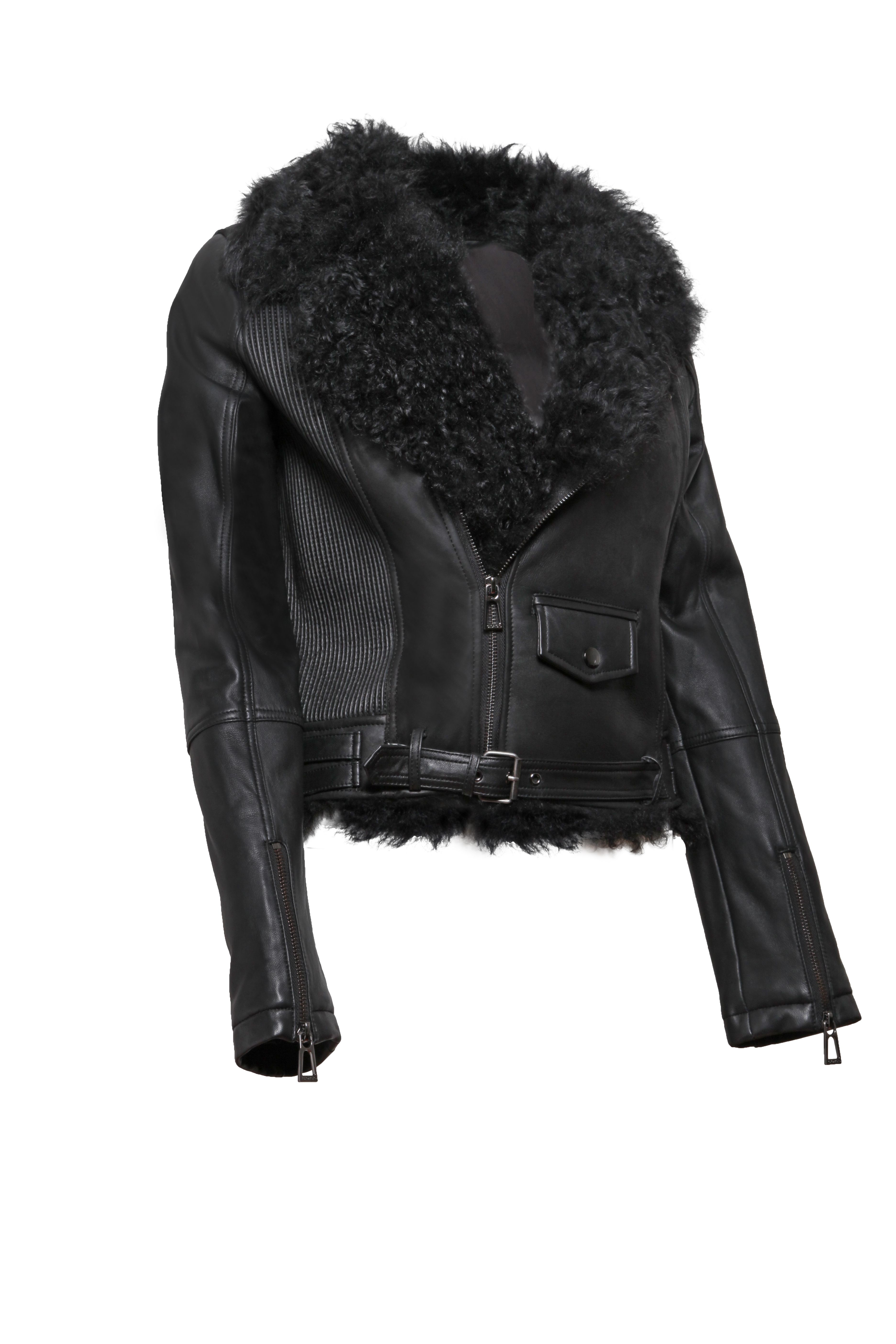 Faux Leather Biker Jacket With Quilt Detail boohoo