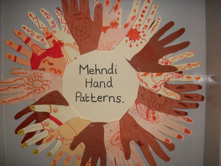 Classroom Decoration Ideas For Nursery School ~ This is a beautiful display on mehndi hand patterns