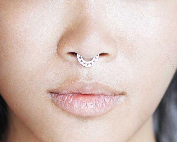 septum ring sterling silber nase ring von eleven44jewelry. Black Bedroom Furniture Sets. Home Design Ideas