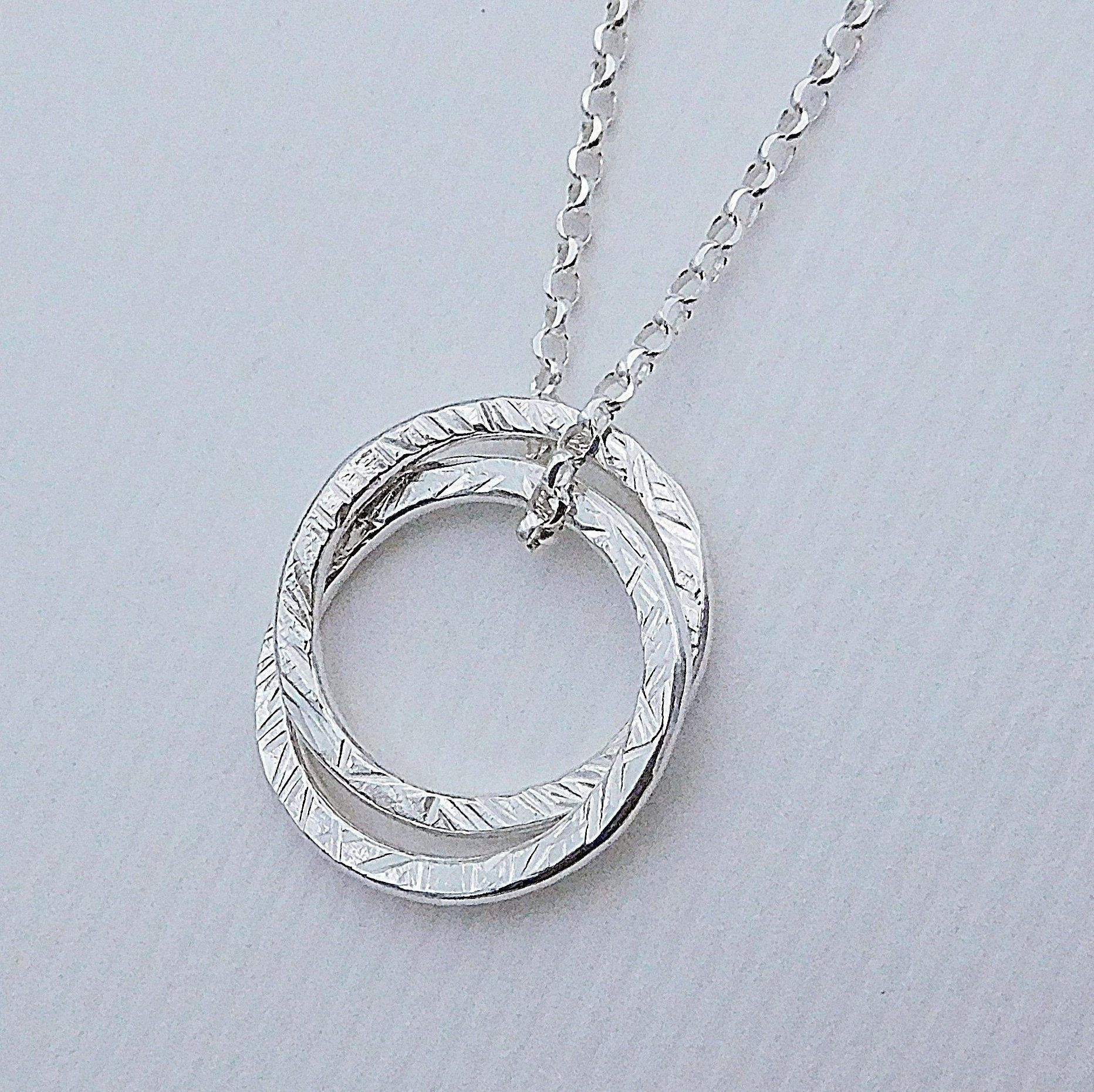 Double Entwined Ring Necklace, Sterling Silver