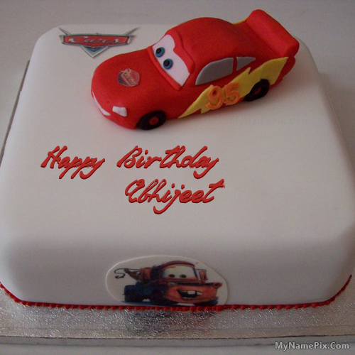The Name Abhijeet Is Generated On Car Birthday Cake For Kids With