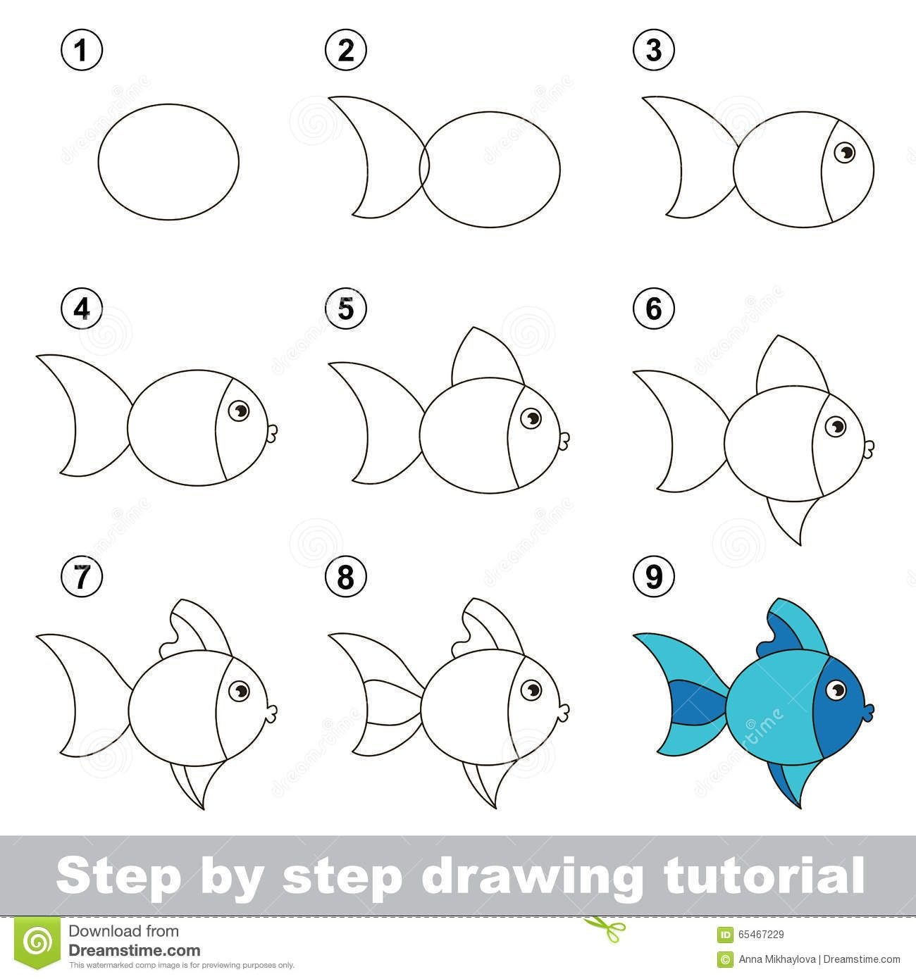 Drawing Tutorial How To Draw Cute Fish Step Step Visual Game Kids 65467229 Jpg 1300 1390 Fish Drawing For Kids Drawing Tutorial Easy Fish Drawing