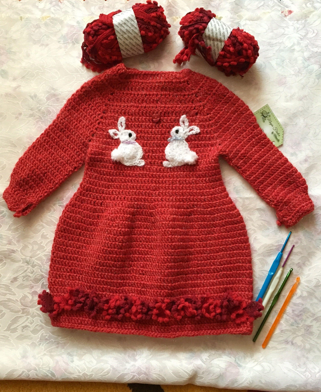 Rabbit crochet dress,rochita crosetata cu iepurasi   Pentru fetițe ...