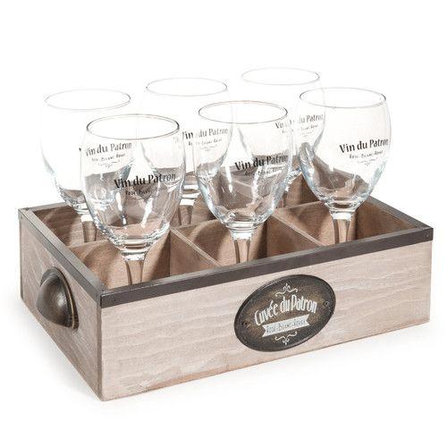 Panier 6 verres en verre cuvee du patron maisons du monde des cadeaux originaux pinterest - Verre avec paille maison du monde ...