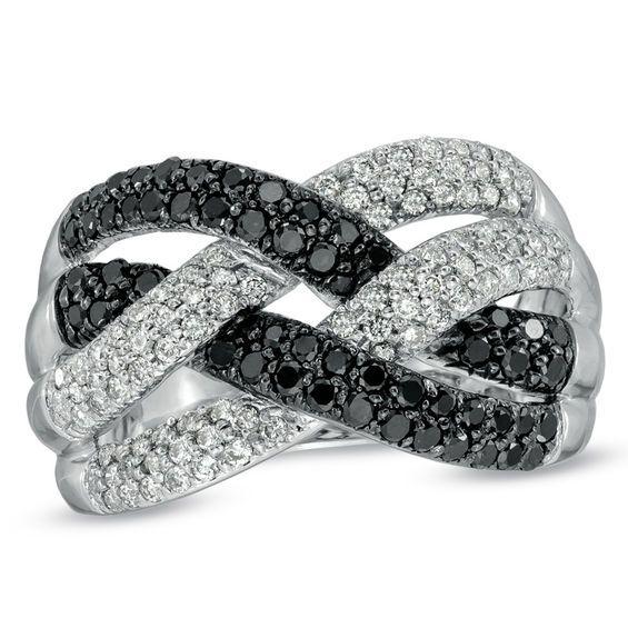 1 CT. T.W. Enhanced Black and White Diamond Loose Braid Ring in 10K White Gold #loosebraids
