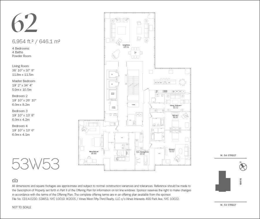For Sale 53 West 53rd St 62 In Midtown Floor Plans Nyc Real Estate Floor Plan Design